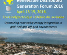 Renewable Distributed Generation Forum on 13-15 April, 2016, in Lausanne (CH)